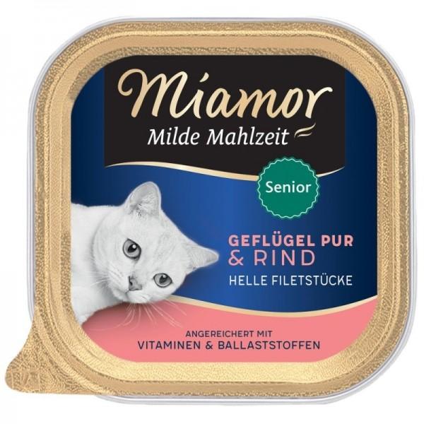 Miamor Schale Milde Mahlzeit Senior Geflügel pur & Rind 100g