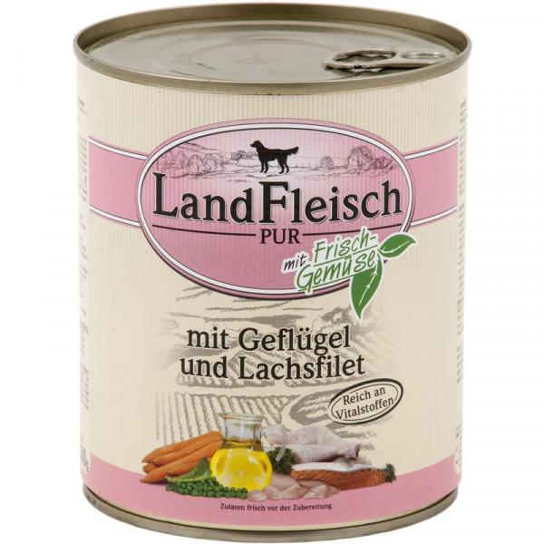 Landfleisch Dog Pur Geflügel & Lachsfilet 800g