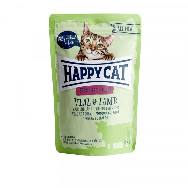 Happy Cat Pouches All Meat Adult Kalb & Lamm 85g