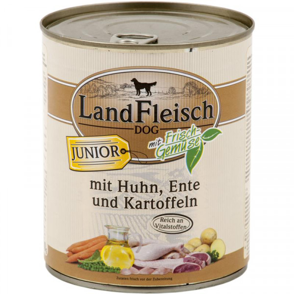 Landfleisch Dog Junior Huhn, Ente & Kartoffeln mit Frisch-Gemüse 800g