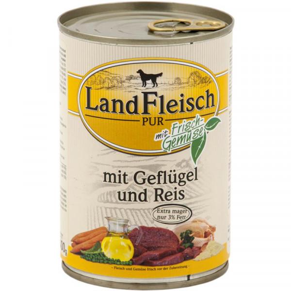 Landfleisch Dog Pur Geflügel & Reis extra mager 400g