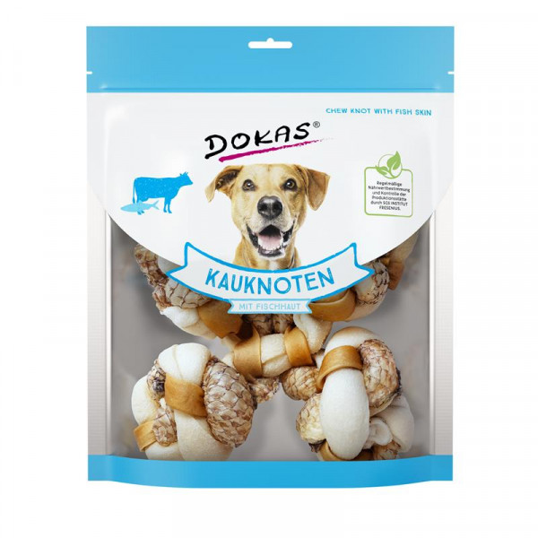 Dokas Hundesnack Kauknoten mit Fischhaut (Tilapia) 250g