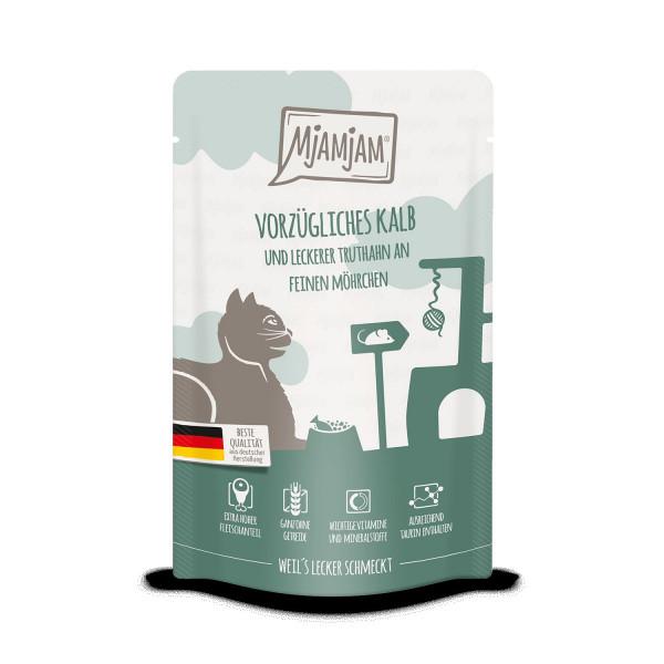 MjAMjAM - Quetschie - vorzügliches Kalb & Truthahn an leckeren Möhrchen 125 g