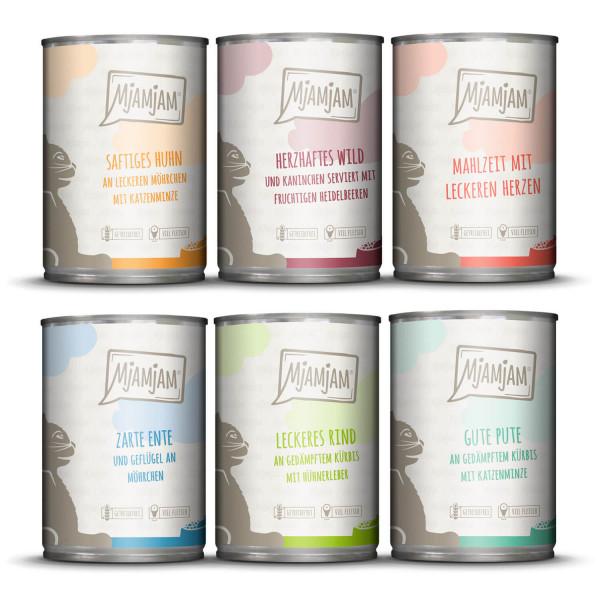 MjAMjAM - Mixpaket III - Wild & Kaninchen, Pute, Ente & Geflügel, Herzen, Huhn, Rind 6 x 400 g