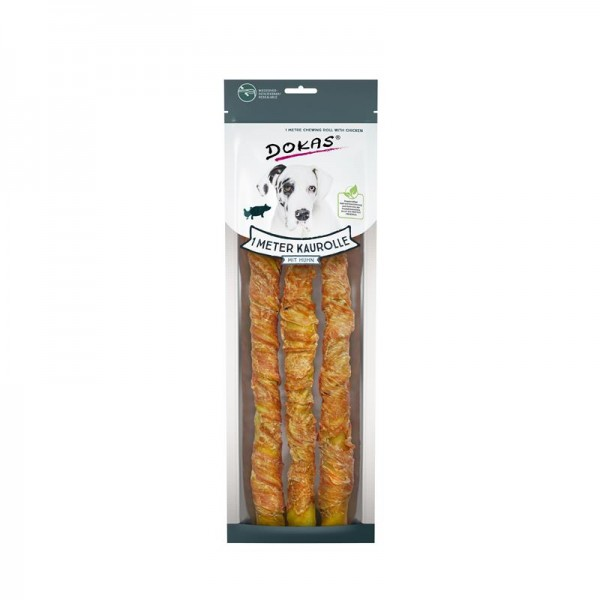 Dokas Hundesnack 1 m Kaurolle mit Huhn 3 x 34 cm