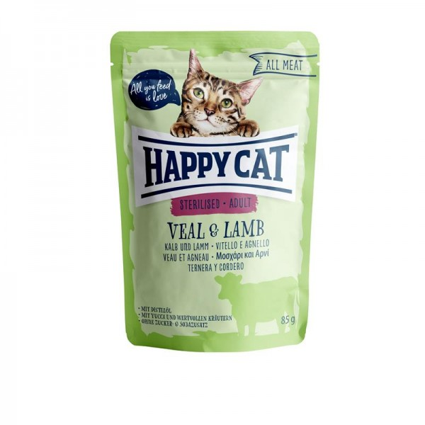 Happy Cat Pouches All Meat Adult Sterilised Kalb & Lamm 85g