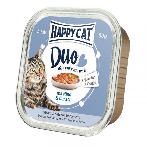 Happy Cat Duo Paté auf Häppchen Rind & Dorsch 100g