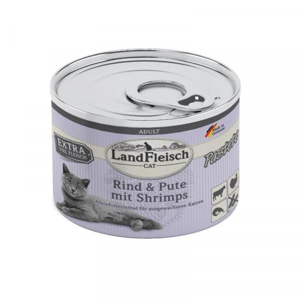 LandFleisch Cat Adult Pastete Rind, Pute & Shrimps 100g