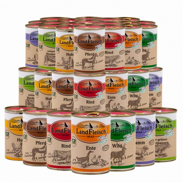 20 x 400 g Landfleisch Pur Dosen Mix | Überraschungspaket oder Sorten frei wählbar