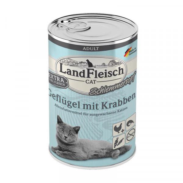 LandFleisch Cat Adult Schlemmertopf mit Geflügel & Krabben 400 g