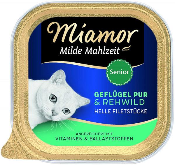 Miamor Schale Milde Mahlzeit Senior Geflügel Pur & Rehwild 100g