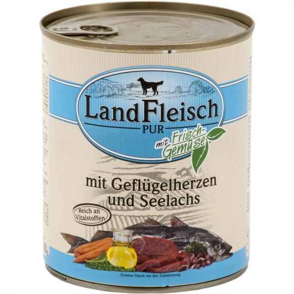 Landfleisch Dog Pur Geflügelherzen & Seelachs 800g
