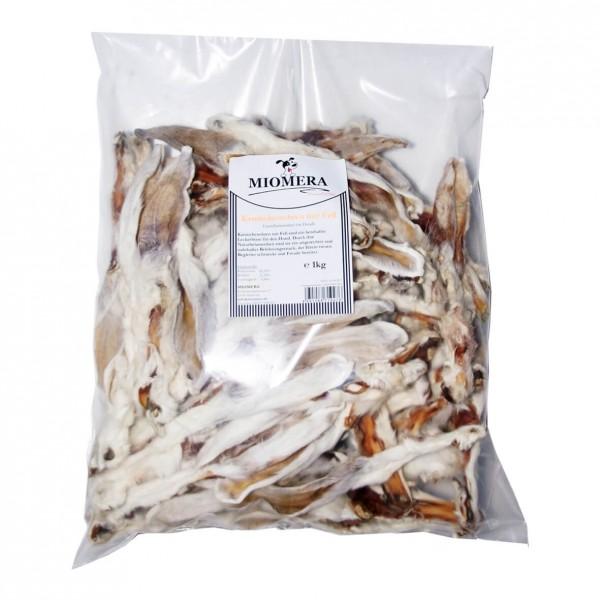 MIOMERA Dog Snack Kaninchenohren mit Fell 1kg