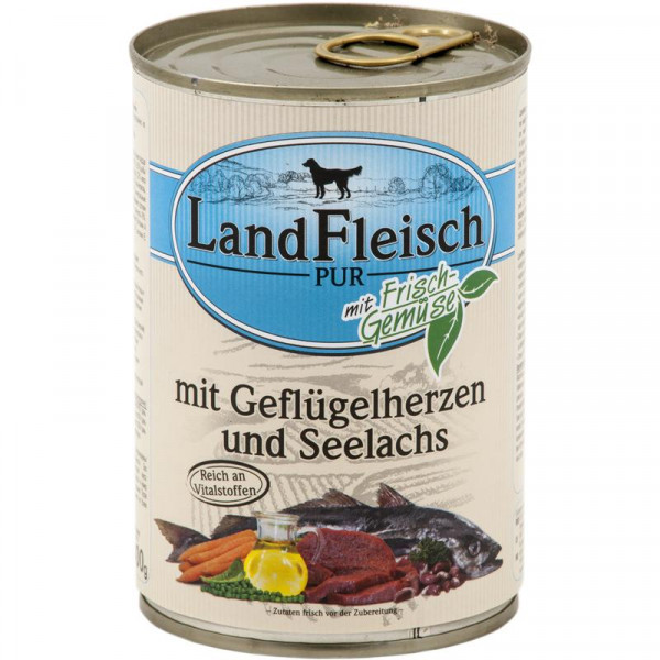 Landfleisch Dog Pur Geflügelherzen & Seelachs 400g