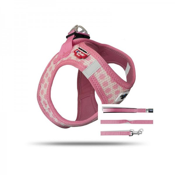 Curli Vest Geschirr Puppy Set Pink-circles 3XS