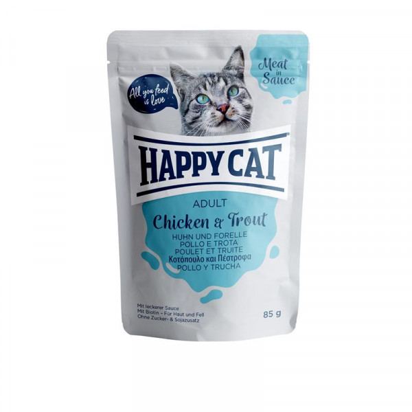 Happy Cat Pouches Meat in Sauce Adult Huhn & Forelle 85g