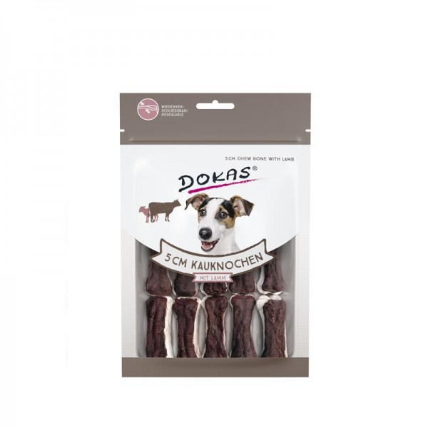 Dokas Hundesnack 5 cm Kauknochen mit Lamm 12 Stück (10x)
