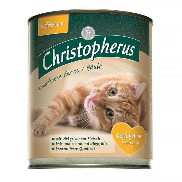 Christopherus Cat Dose für erwachsene Katzen Geflügel pur 800g