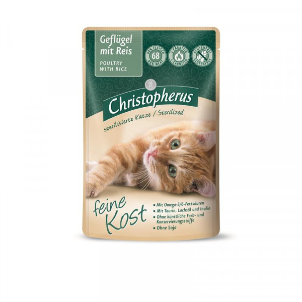 Christopherus Cat Portionsbeutel Adult - Sterilized Geflügel mit Reis 85 g