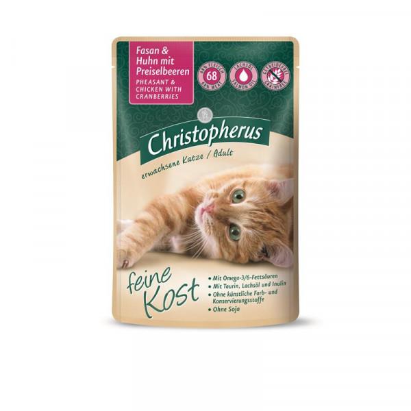 Christopherus Cat Portionsbeutel Adult - Fasan + Huhn mit Preisselbeeren 85 g