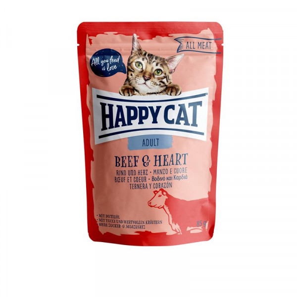 Happy Cat Pouches All Meat Adult Rind & Herz 85g