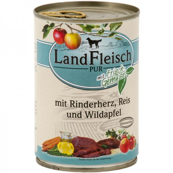 Landfleisch Dog Pur Rinderherz, Reis & Wildapfel 400g SAISONARTIKEL