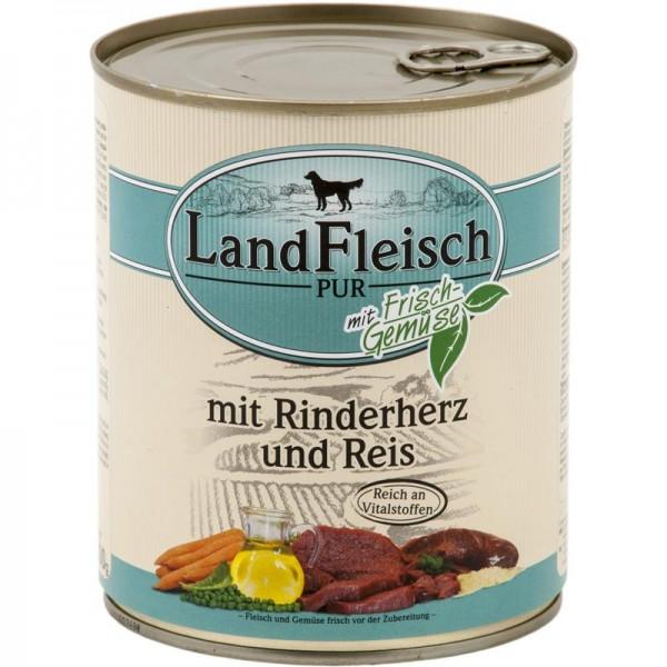 Landfleisch Dog Pur Rinderherzen & Reis 800g