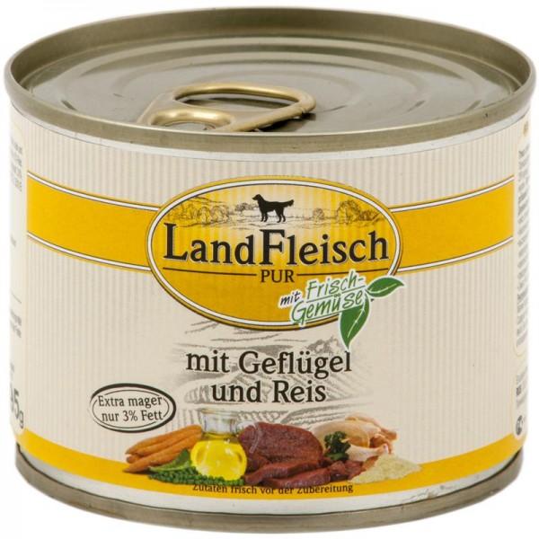 Landfleisch Dog Pur Geflügel & Reis extra mager 195g
