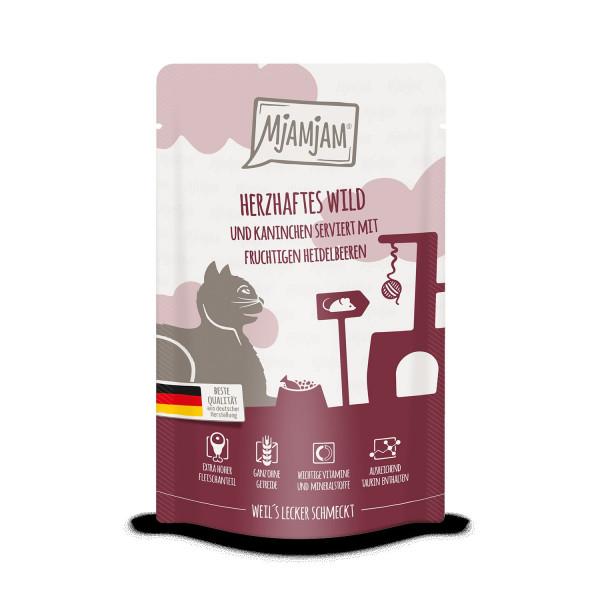 MjAMjAM - Quetschie - herzhaftes Wild & Kaninchen an fruchtigen Heidelbeeren 125 g