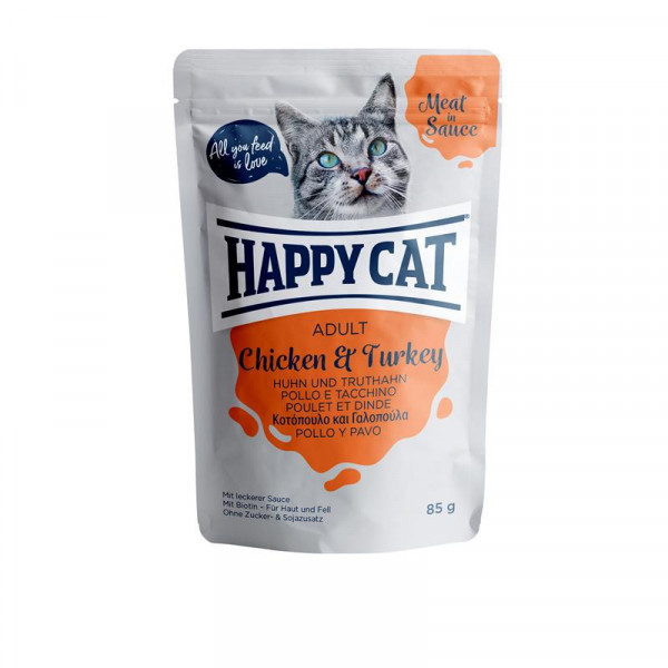 Happy Cat Pouches Meat in Sauce Adult Huhn & Truthahn 85g