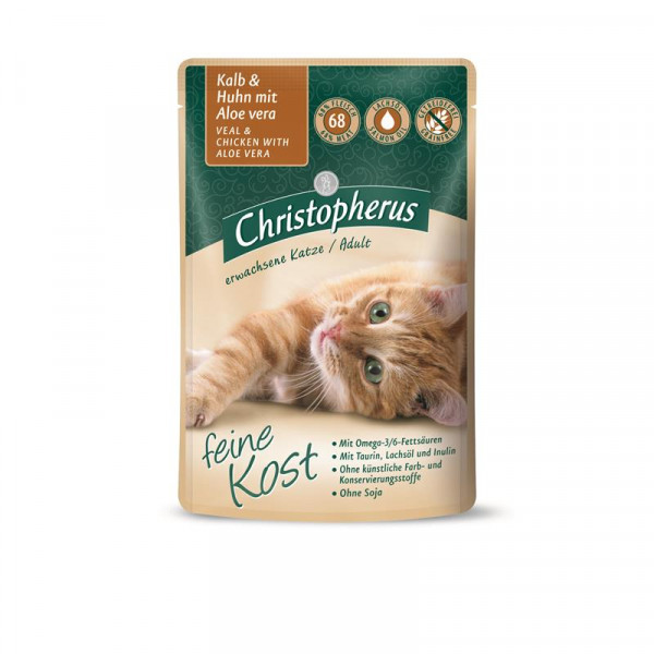 Christopherus Cat Portionsbeutel Adult - Kalb + Huhn mit Aloe Vera 85 g
