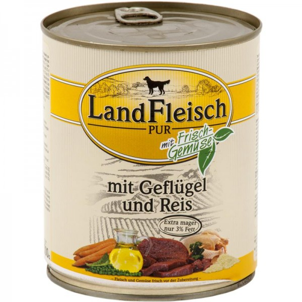 Landfleisch Dog Pur Geflügel & Reis extra mager 800g