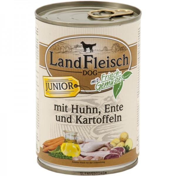 Landfleisch Dog Junior Huhn, Ente & Kartoffeln mit Frisch-Gemüse 400g