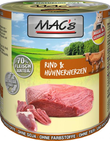 MACs Cat Rind & Hühnerherzen 800g