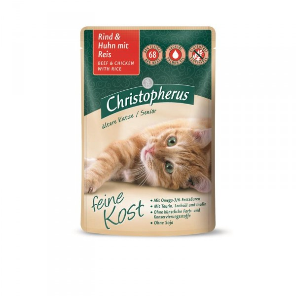Christopherus Cat Portionsbeutel Senior - Rind + Huhn mit Reis 85 g