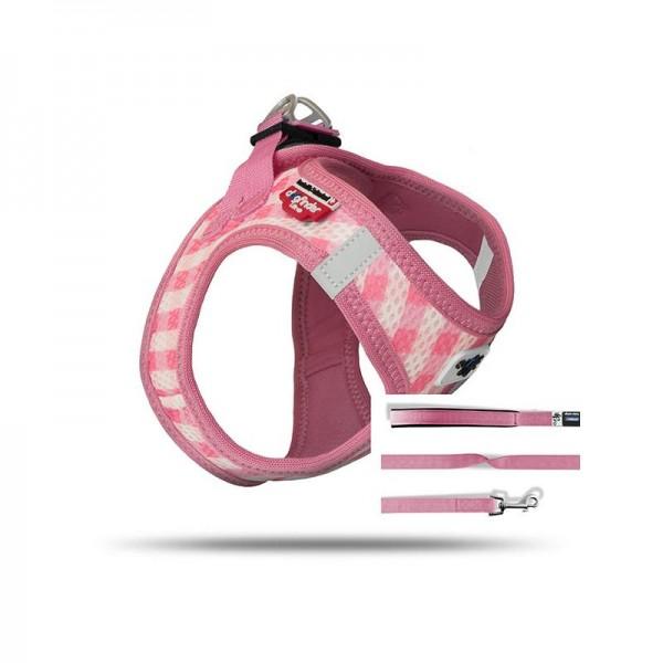 Curli Vest Geschirr Puppy Set Pink-caro M