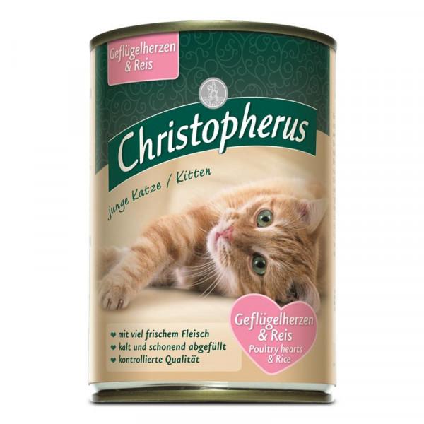 Christopherus Cat Dose junge Katzen Geflügelherzen & Reis 400g