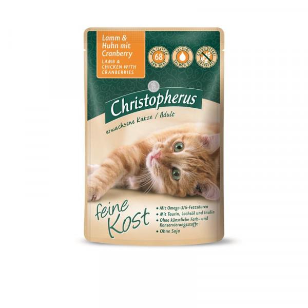 Christopherus Cat Portionsbeutel Adult - Lamm + Huhn mit Cranberry 85 g
