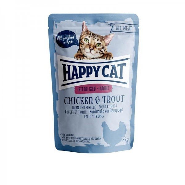 Happy Cat Pouches All Meat Adult Sterilised Huhn & Forelle 85g