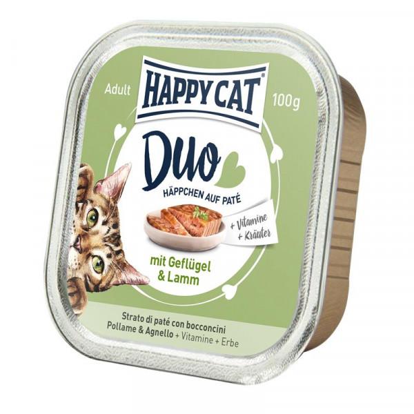 Happy Cat Duo Paté auf Häppchen Geflügel & Lamm 100g