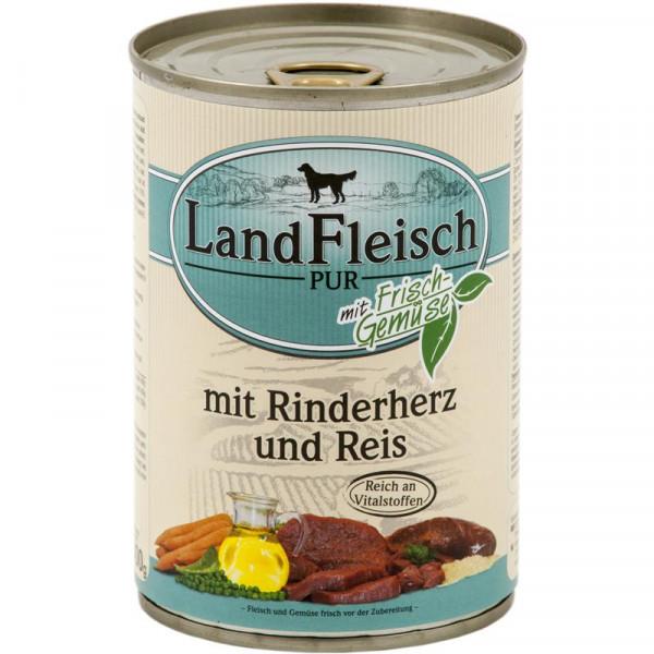 Landfleisch Dog Pur Rinderherzen & Reis 400g