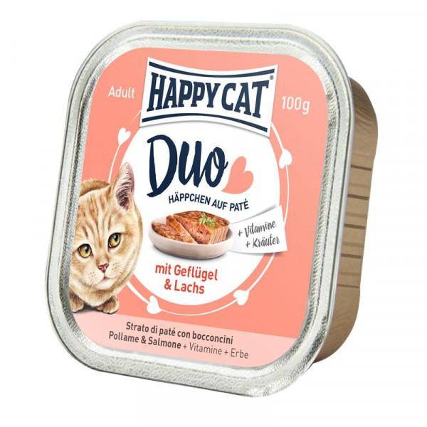 Happy Cat Duo Paté auf Häppchen Geflügel & Lachs 100g