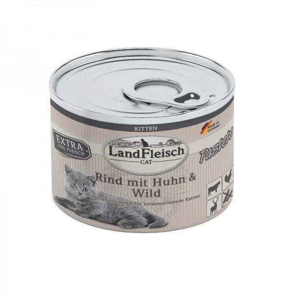 LandFleisch Cat Kitten Pastete Rind, Huhn & Wild 100g