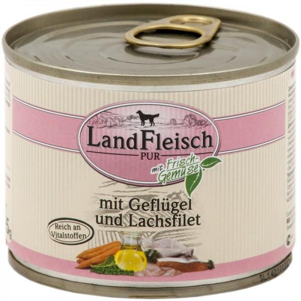 Landfleisch Dog Pur Geflügel & Lachsfilet 195g