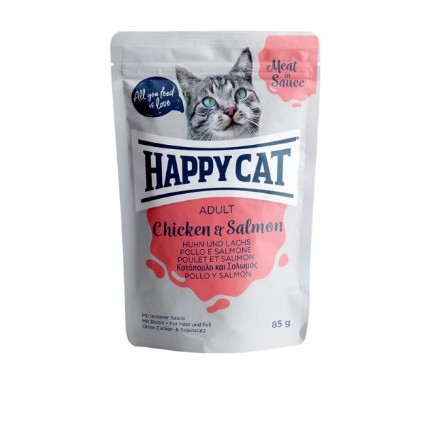 Happy Cat Pouches Meat in Sauce Adult Huhn & Lachs 85g