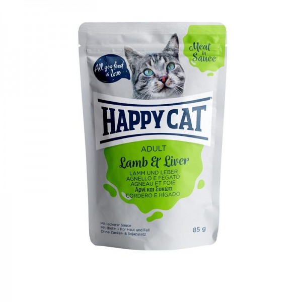 Happy Cat Pouches Meat in Sauce Adult Lamm & Leber 85g