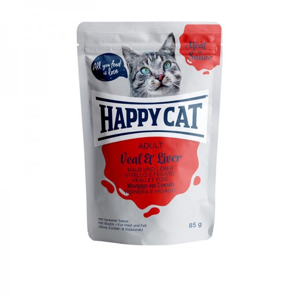 Happy Cat Pouches Meat in Sauce Adult Kalb & Leber 85g