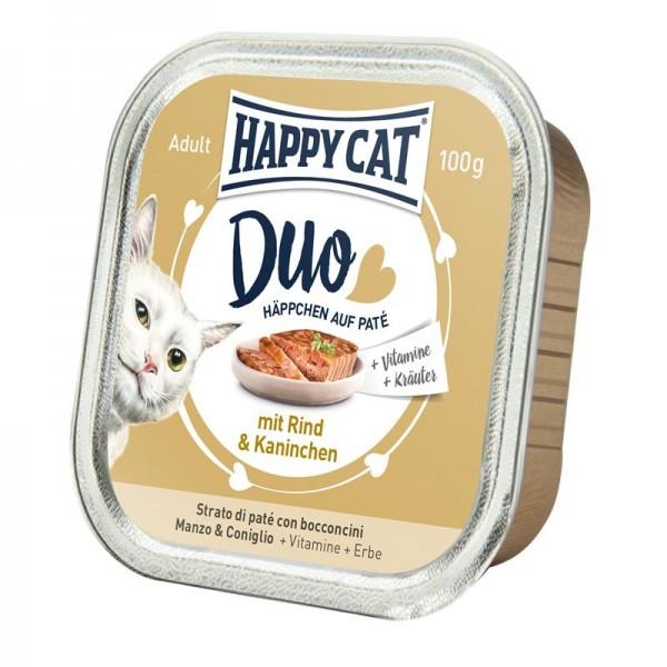 Happy Cat Duo Paté auf Häppchen Rind & Kaninchen 100g