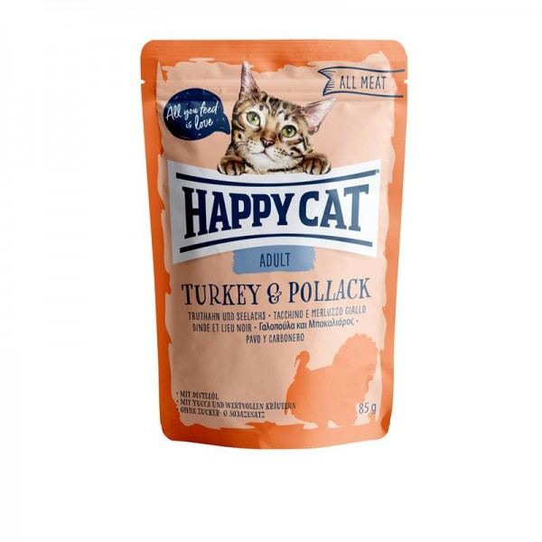 Happy Cat Pouches All Meat Adult Truthahn & Seelachs 85g