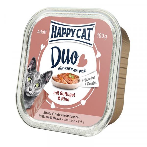 Happy Cat Duo Paté auf Häppchen Geflügel & Rind 100g